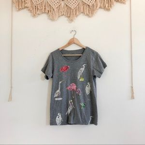 J Crew Collector Tees Grey Watercolor Bird Tee